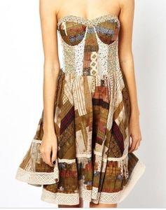 Denim and Supply strapless boho patchwork dress